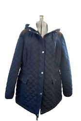 laundry by shelli segal Blue Coat Size Large Removable Hood Women's
