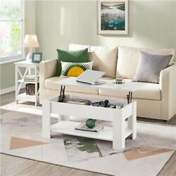 Lift Top Coffee Table W/hidden Storage Compartment And Shelf For Living Room White