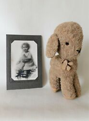 Antique Stuffed Wool Lamb Sheep Toy And Child Photograph With Teddy Bear