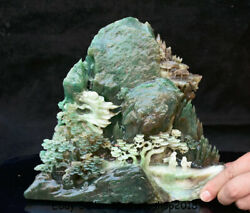 9.6 Natural Dushan Green Jade Carved Old Man Boy Tree Water Mountain Sculpture
