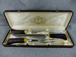 Vintage Bakelite Handled Meat Carving Set Faux Antler Handles By Glo-hill Of Can