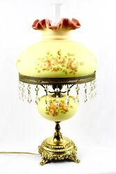 Fenton Burmese Student Lamp Hand Painted Roses By Louise Piper 1972