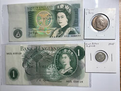 Bank Of England One Pound Notes2, 1905 3 Pence And 1905 Half Penny
