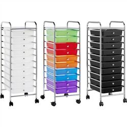 10 Drawer Rolling Storage Cart Plastic Utility Cart With Drawers And Wheels