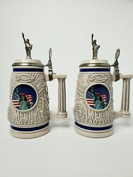 2 Vintage Avon 1998 Collectible Beer Stein America The Beautiful Limited Edition