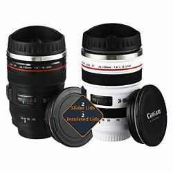 Camera Lens Coffee Mug Stainless 2 Mugs + 2 Extra Insulted Lids + 2 Spoons