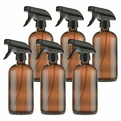 Empty Amber Glass Spray Bottles With Labels 6 Pack - 16oz 6 Count Pack Of 1