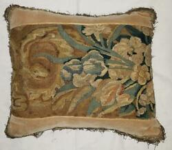 Vintage Bespoke Antique Tapestry Fragment Small Throw Pillow