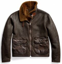 2900 Rrl Flight Shearling Military Leather Jacket- Xl