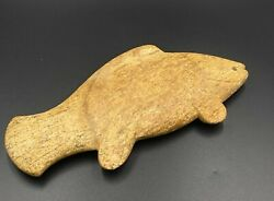 Ancient Near Eastern Antiquities Fish Figure Engraved Marble Stone 3500-2900 Bc