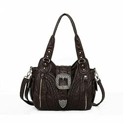 Handbags for Women Washed Leather Hobo Bags Concealed Carry With Buckle Coffee $74.04