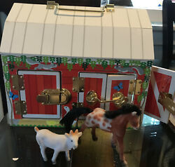 Melissa And Doug Wooden Latches Barn Toy With Flocked Horse And Goat Age 3+