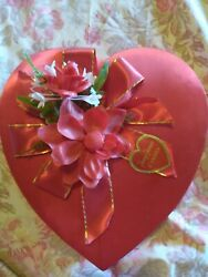 Vintage Valentine Candy Heart Box With Flowers Red Fannie Farmer