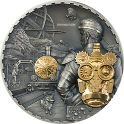 2021 3 Oz Silver 20 Cook Islands Jet Pack Steampunk Gilded Antique Finish Coin.