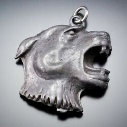 Vintage Panther Cougar Cat Figural Head Necklace Pendant Charm Estate Jewelry