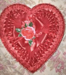 Vintage Valentine Candy Heart Box With Flowers Red Lace With Original Box