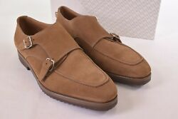 Gravati Nwb Double Monk Strap Shoes In Cola Suede Leather Size10.5 M 695