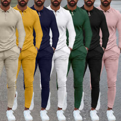 Menand039s Tracksuits 2 Pcs Outfit Solid Long Sleeve Sweat Suit Sports Jogging Suits