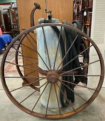 Antique 5' Foamite Wheeled Fire Extinguisher, Brass Top And Nozzle, 4' Iron Wheels