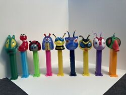 Vintage Very Rare Crystal Bugz Pez Set Of 9 Includes Baby Bee, Worm And Lady Bug