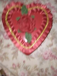 Vintage Valentine Candy Heart Box With Flowers Red Lace With Silk Rose
