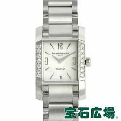 Baume And Mercier Diamant 2 Hands Used Watch Ladies Box Diamond White Dial