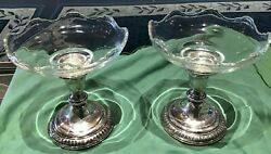 2 Vintage Glass And Sterling Compotes/candle Holders Super Fast Shipping