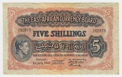 British East Africa Banknote 5 Shilling 1941 P28a Gvf King George Vi Bill Lion