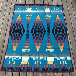 Vintage 1970andrsquos Woven Wool Pendleton Beaver State Blanket Full Size. 76x58