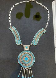 """Silver And Turquoise Native American Necklace """"lmb"""" Vintage Hand Made By Artist"""