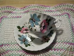 Royal Albert Teacup Saucer England Floral Dusty Blue Pink White Daisy Flowers