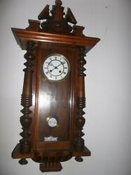 Antique German Wall Clock For Parts Or Repair Sold As Is Jumping Reindeer Mark