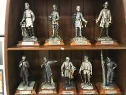 9 Large Individual Chilmark Pewter Statues. Includes Ab And Bedford Forest.
