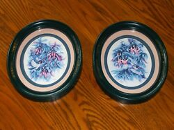 Homco Hummingbirds And Fuchsia Flower Pictures 1983 Green Home Interior Set Of 2