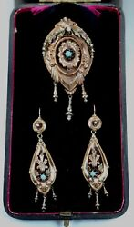 Antique 14k Rose Gold Earrings Brooch Set Turquoise Pearls Original Box C1870s