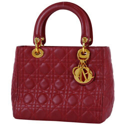 Christian Dior Lady Dior Tote Bag Hand Bag Leather Red Women