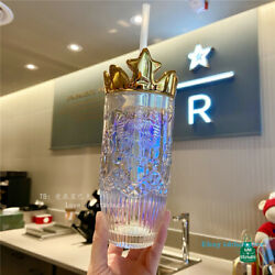 5pcs Starbucks Crown Lid Glass Straw Cup Fish Scale Crown Ceramic Rainbow Red Ss