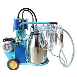 110v Electric Piston Milking Machine Farm Cows And Goat Double Bucket Stainless