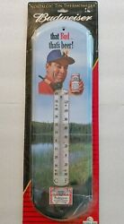 Budweiser Beer Thermometer Sign 2007 New Old Stock Fly Fishing Wild Life