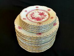 Herend Porcelain Indian Basket Raspberry Dinnersoup And Dessert Plates18pcs.