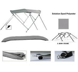 3-bow Aluminum Bimini Top Compatible With Lund 1650 Explorer Ss 1999-2003