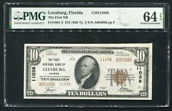 1929 10 Tyii First Nb Of Leesburgfl National Currency Ch. 11038 Pmg Unc-64epq