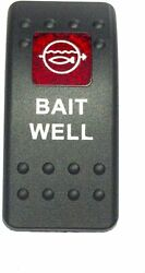 Euro Rocker Switch Cover- Bait Well. Black With Red Lens. Contura Ii.