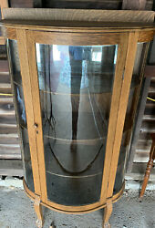 Antique Oak 3-panel Curved Glass Hutch Curio China Display Cabinet Good Cond