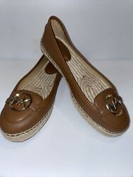 MICHAEL KORS MK WOMEN DYLYN SPADRILLE SLIP ON FLAT LEATHER SHOES LUGGAGE 9.5M $65.00