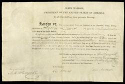 James Madison - Naval Appointment Signed 07/28/1813 With Co-signers