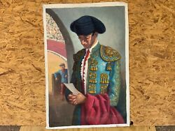 Vintage Oil On Canvas Painting Matador From Spain Andldquodeath Of Manoleteandrdquo By Juva