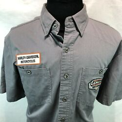 Harley Davidson Embroidered Patches Button Up Gray Heavy Work Shirt Large Y12