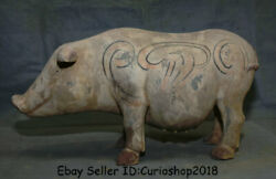 16.4 Antique Chinese Tang Sancai Pottery Painting Hand Made Sow Boar Pig Statue