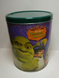 Rare Shrek The Third Large Tin Popcorn Bucket Can With Lid 2007 Dreamworks